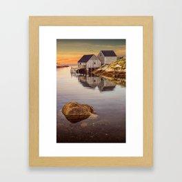 Peggy's Cove Harbor at Sunset in Nova Scotia Framed Art Print