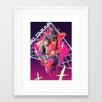 yaoi Framed Art Prints featuring 80s Fashion by kami dog