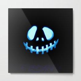 halloween Jack O Lantern Blue Metal Print