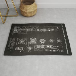 Soyuz Blueprint in High Resolution (black) Rug