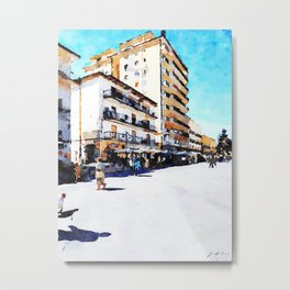 People on the street under the buildings of Agropoli Metal Print