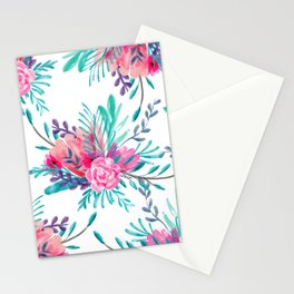 Modern hand painted pink turquoise floral watercolor pattern Stationery Cards