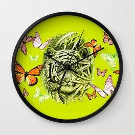 Tiger and Butterflies Wall Clock