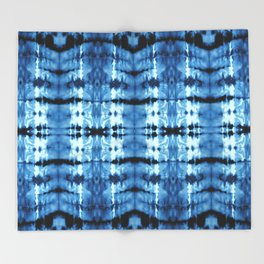 Indigo Satin Shibori Throw Blanket