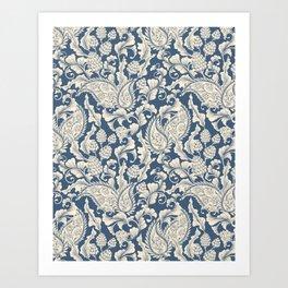 Vintage & Shabby Chic - William Morris Classic Blue Antique Floral Art Print
