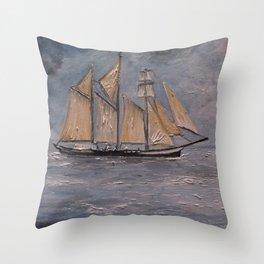 Tall Ship in Boston Throw Pillow