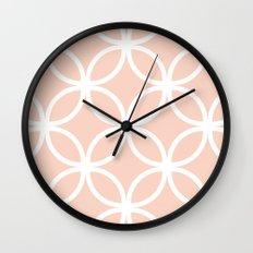 Peach Geometric Circles Wall Clock