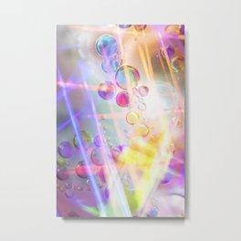 Unicorn Fantasy Rainbow Neon Bubbles V Metal Print