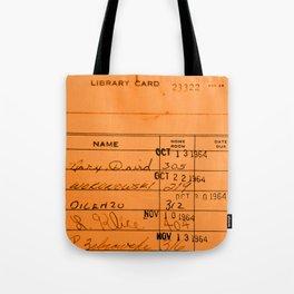 Library Card 23322 Orange Tote Bag