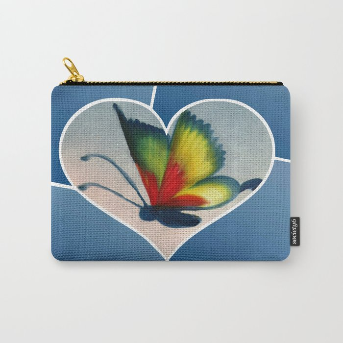 Butterfly Love - Blue Carry-All Pouch