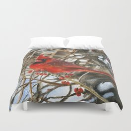 Winter Cardinal by Teresa Thompson Duvet Cover