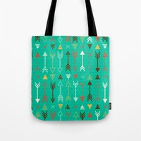 arrows Tote Bags featuring Arrows by Claire Lordon