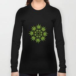 Cannabis Leaf Circle (White) Long Sleeve T-shirt