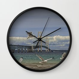 Flock of Gulls Flying by the Bridge at the Straits of Mackinac Wall Clock