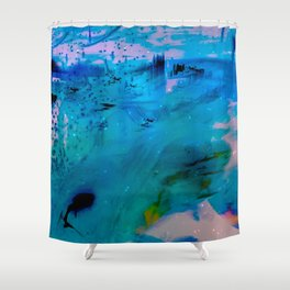 blue dream land in winter abstract digital painting Shower Curtain