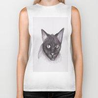 kitty Biker Tanks featuring Kitty by Adrian Casanova