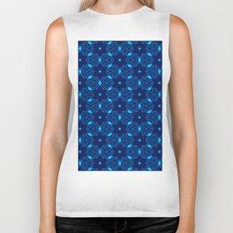 Shibori Stars (dark and pale blue) Biker Tank