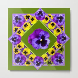 GREEN GEOMETRIC  PURPLE & YELLOW  PANS GARDEN ART Metal Print