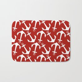 Maritime Nautical Red and White Anchor Pattern - Anchors on #Society6 Bath Mat