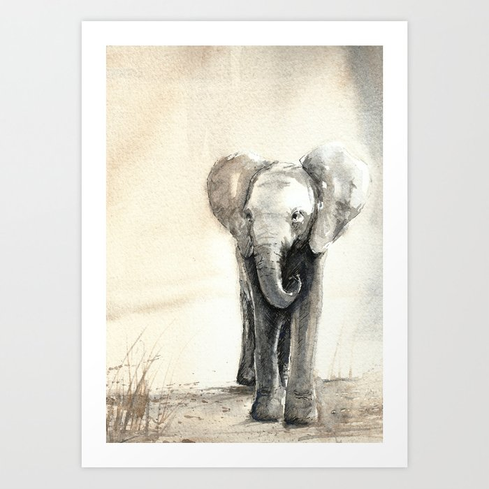 Baby Elephant Walking Kunstdrucke