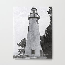 Marblehead Lighthouse Mixed Media Metal Print