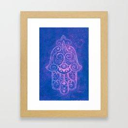Hamsa in Cobalt Blue Framed Art Print