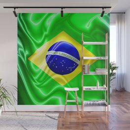 Brazil Flag Waving Silk Fabric Wall Mural