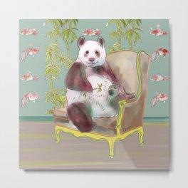 animals in chairs #3 The Panda Metal Print