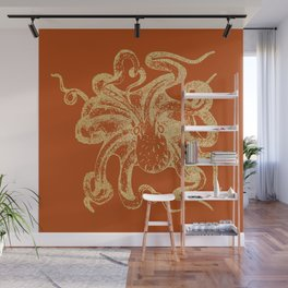 Gold octopus on burnt orange background Wall Mural