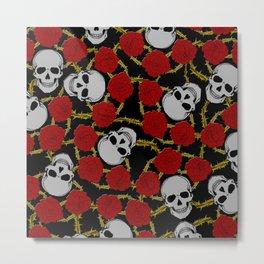 Roses'n'Skulls Metal Print