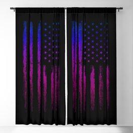 Gradient grunge American flag Black ink Blackout Curtain