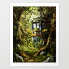 Doctor Who - Tardis in the Woods Art Print