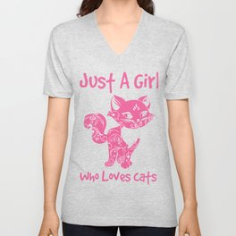 Just A Girl Who Loves Cats Unisex V-Neck