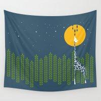 giraffe Wall Tapestries featuring Giraffe by Steph Dillon