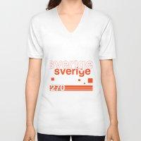 sweden V-neck T-shirts featuring Sweden stamp  by Little Parcels Shop