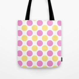 Yellow and pink polka dots Tote Bag