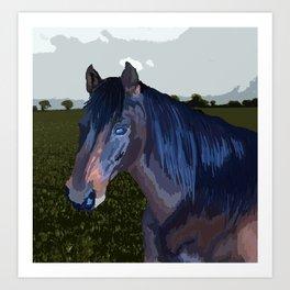 Colour block horse Art Print