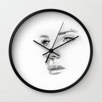 lana Wall Clocks featuring Lana by Stephanie Recking