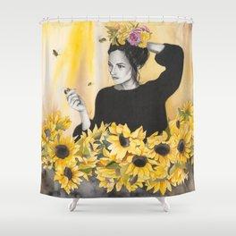 Sunflowers & Honey Bees Shower Curtain