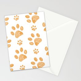 Yellow doodle paw print pattern background Stationery Cards