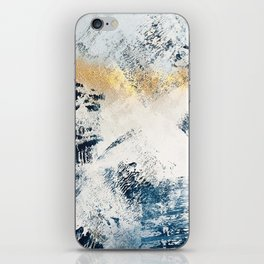 Sunset [1]: a bright, colorful abstract piece in blue, gold, and white by Alyssa Hamilton Art iPhone Skin