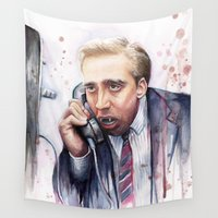 nicolas cage Wall Tapestries featuring Nicolas Cage by Olechka