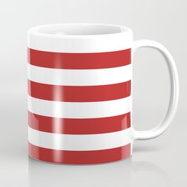 Narrow Horizontal Stripes - White and Firebrick Red Coffee Mug