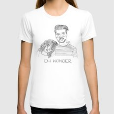 Oh Wonder LARGE White Womens Fitted Tee
