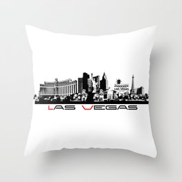 Las Vegas skyline black Throw Pillow