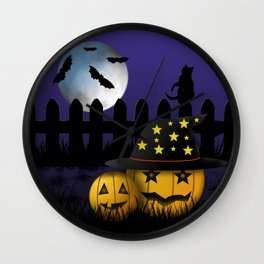 Halloween Pumpkins Black Cat Moon and Bats Wall Clock