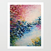 jazzberry Art Prints featuring PARADISE DREAMING Colorful Pastel Abstract Art Painting Textural Pink Blue Tropical Brushstrokes by EbiEmporium