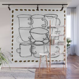 Coffee Beans and Mugs Wall Mural