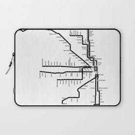 Chicago CTA Map, Chicago Map Art, CTA Art, Chicago Wall Art, Chicago Art, L Train, Art Print Laptop Sleeve
