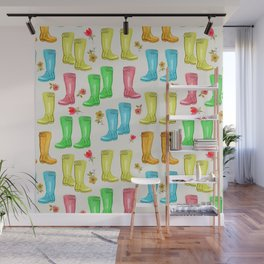 Wellies and Flowers Rainboot Print Wall Mural